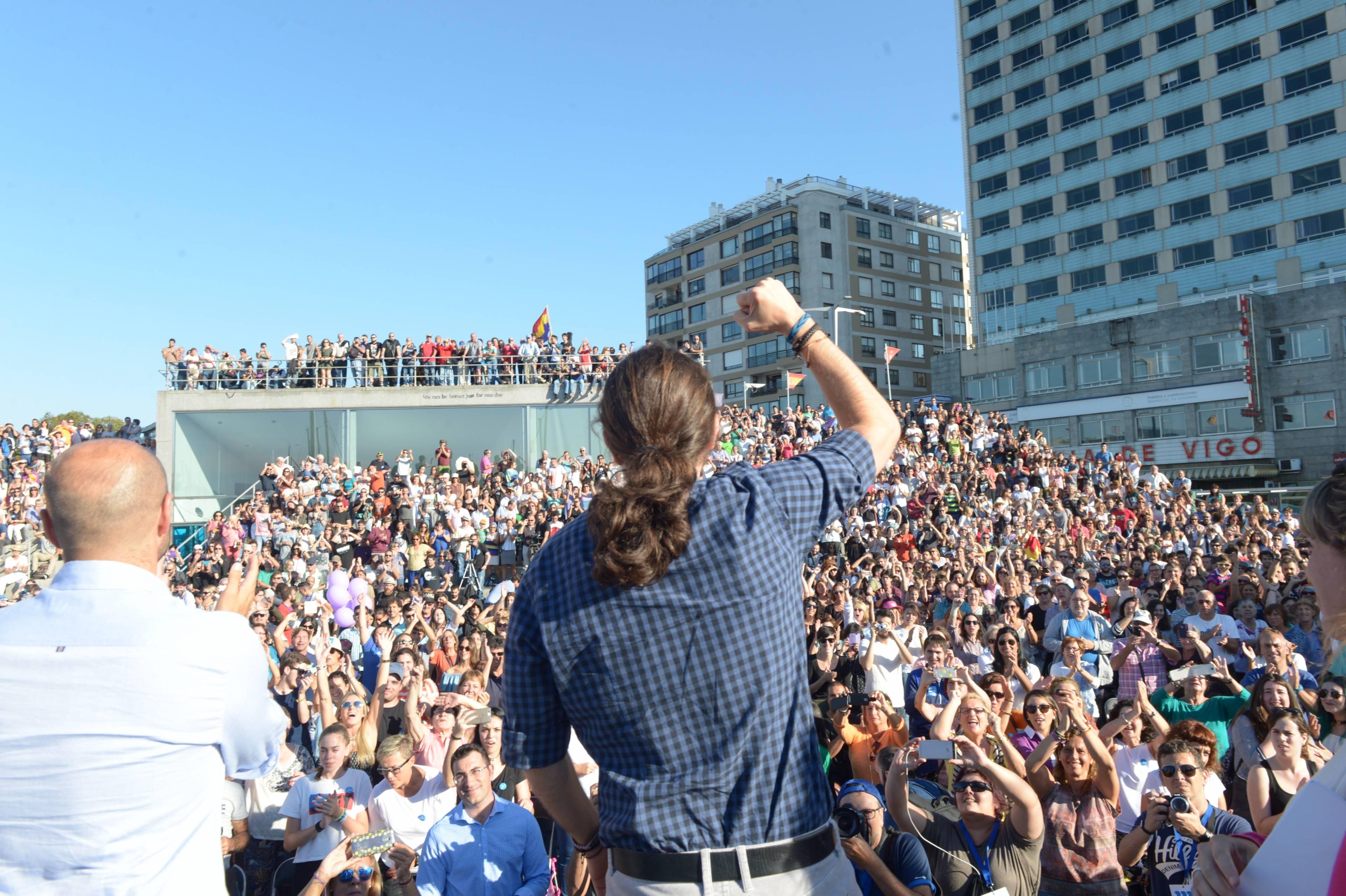 Pablo Iglesias, en un mitin en Vigo el 20 de septiembre.