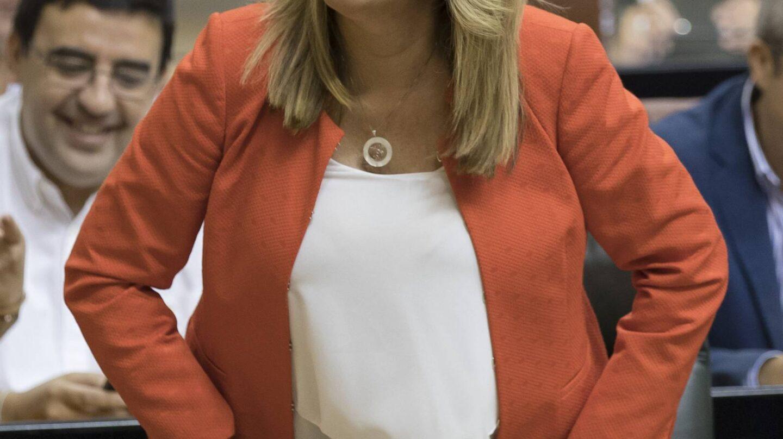 Susana Díaz, en su escaño del Parlamento de Andalucía durante una sesión de control al Gobierno.