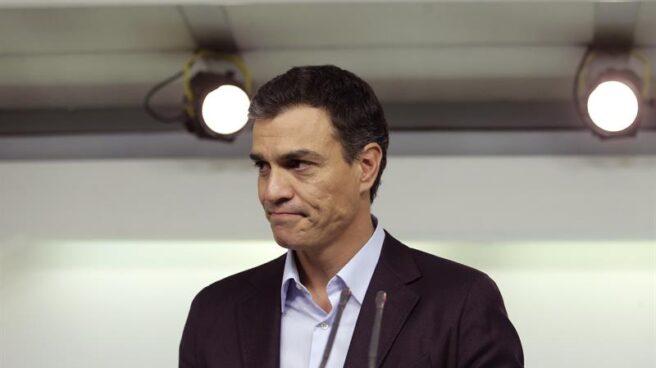 Pedro Sánchez, durante la comparecencia en la que anunció su dimisión.
