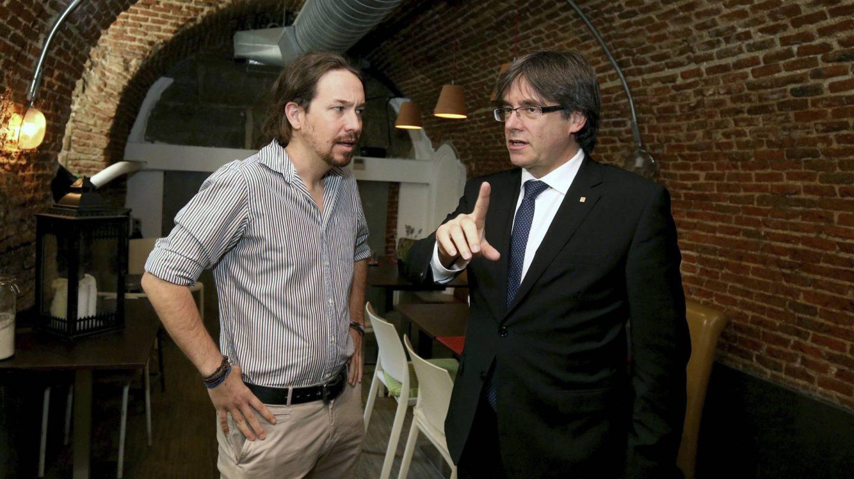 Pablo Iglesias y Carles Puigdemont, en una imagen de archivo.