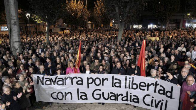 Manifestación en apoyo a la Guardia Civil, celebrada en Pamplona el pasado lunes.