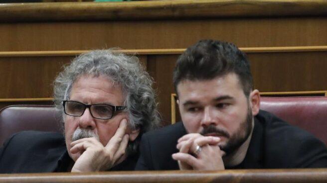 Los portavoces de ERC en el Congreso, Juan Tardà y Gabriel Rufián.