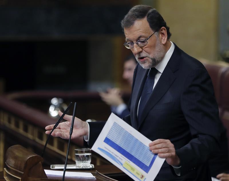 El candidato popular, Mariano Rajoy, en su intervención.