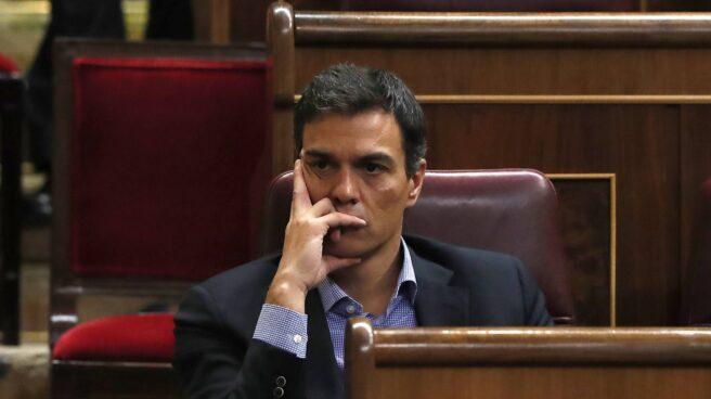 Pedro Sánchez, en su nuevo escaño en el Congreso.