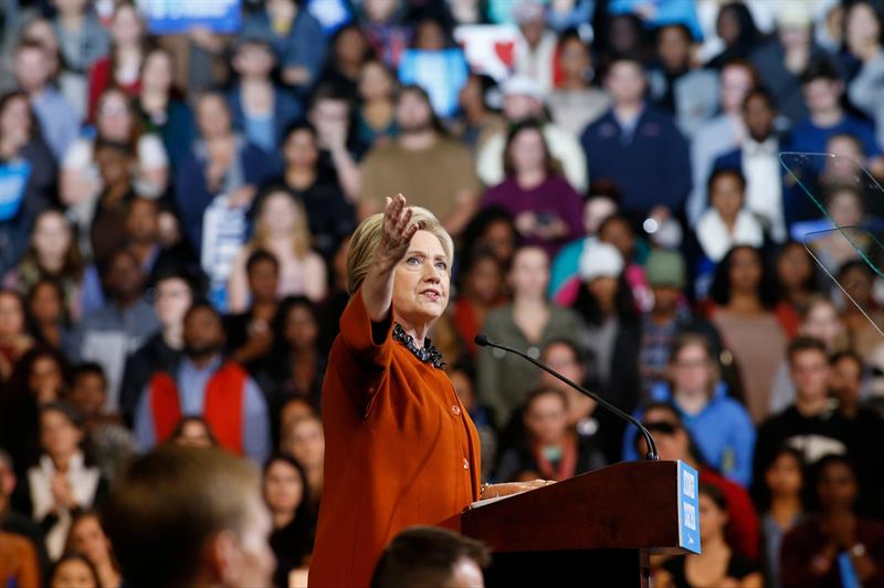 Hillary Clinton en un mitin reciente en Carolina del Norte.