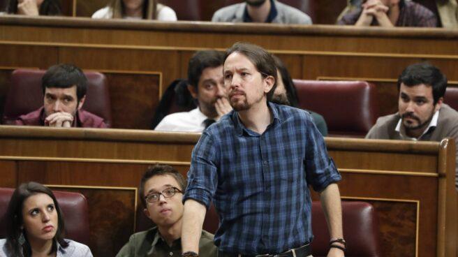 Pablo Iglesias, durante la sesión de investidura.