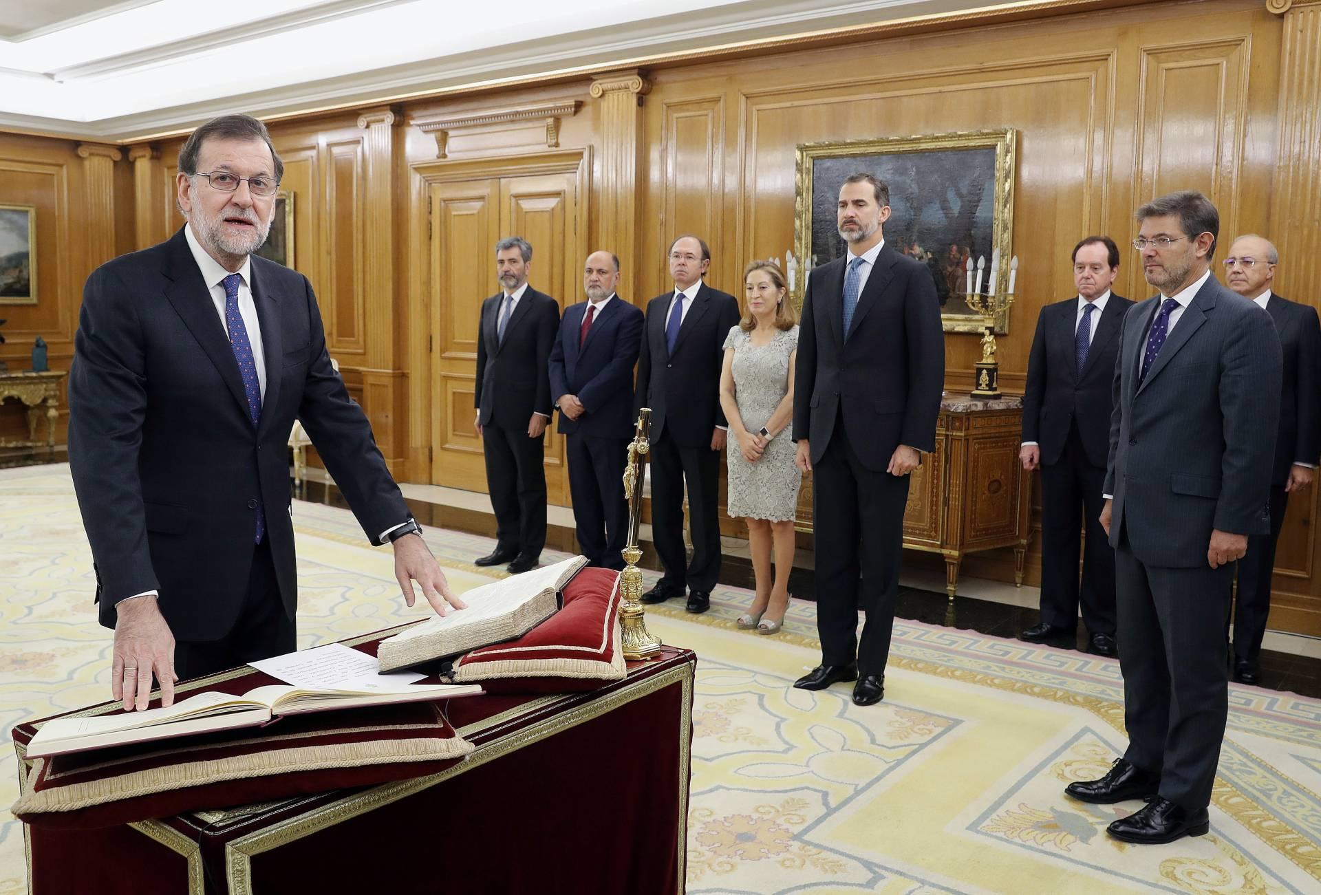 Mariano Rajoy, durante la jura de su cargo como presidente del Gobierno.
