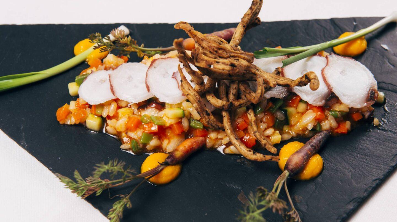 arroz-cremoso-de-pulpo-y-verduritas-con-crujiente-de-malta-y-cerveza-tostada-delirios