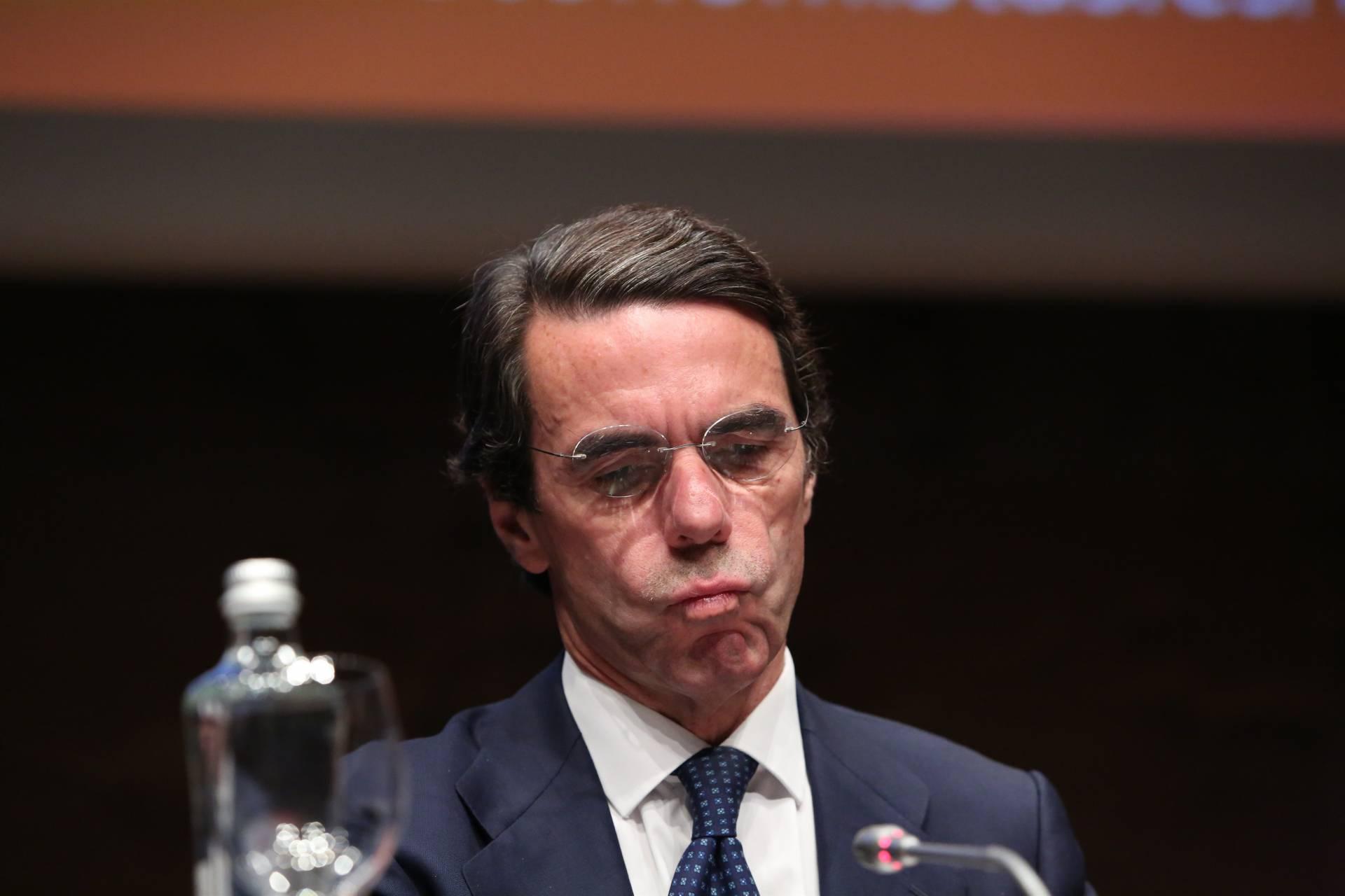 El ex presidente del Gobierno José María Aznar, en una comparecencia pública.