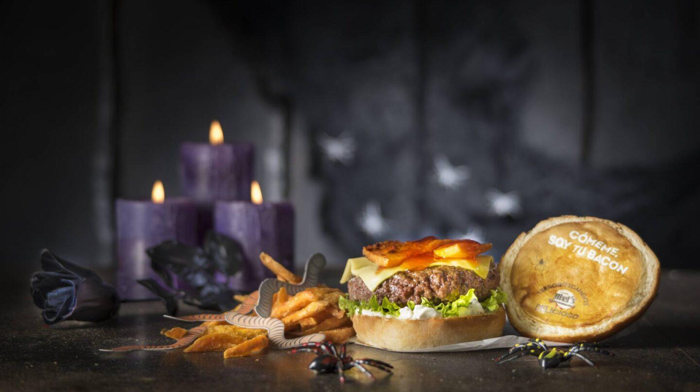 La hamburguesa especial Halloween con papel comestible de Tommy Mel's