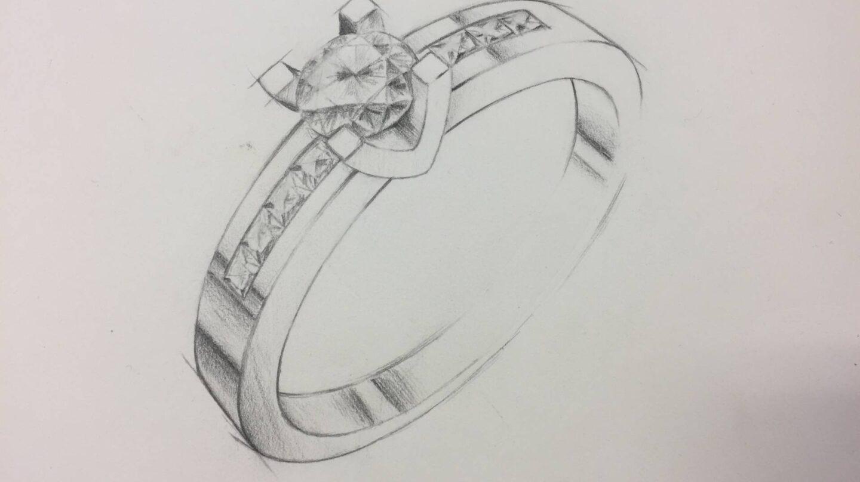 Uno de los bocetos de anillo de compromiso de Argyor.