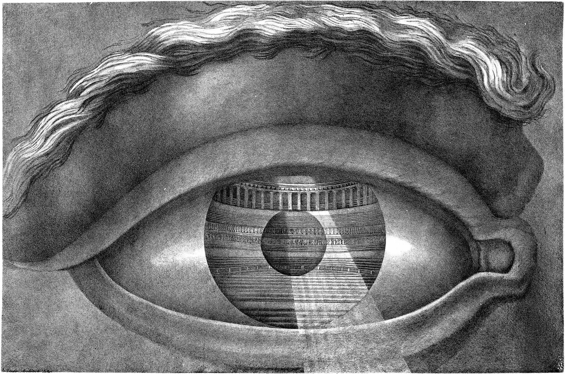 Ojo reflejando el interior del Teatro de Besançon, de Claude Nicolas Ledoux (1784).