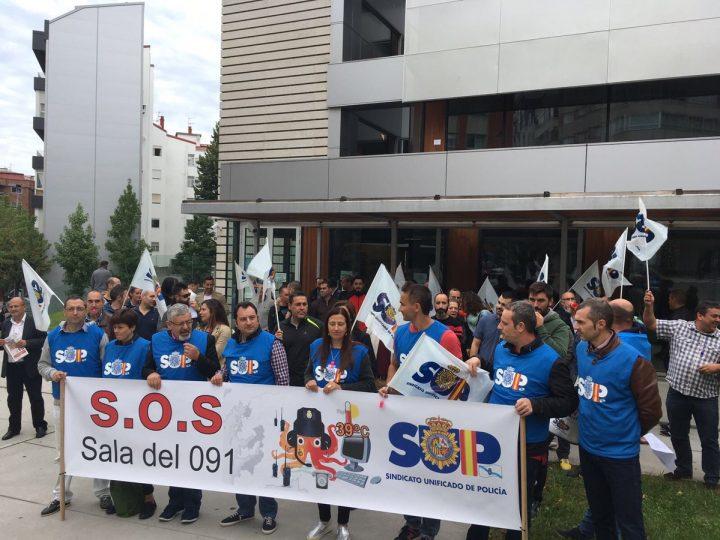 Protesta de policías el pasado 5 de octubre ante la comisaría de Vigo por la situación de la Sala del 091.