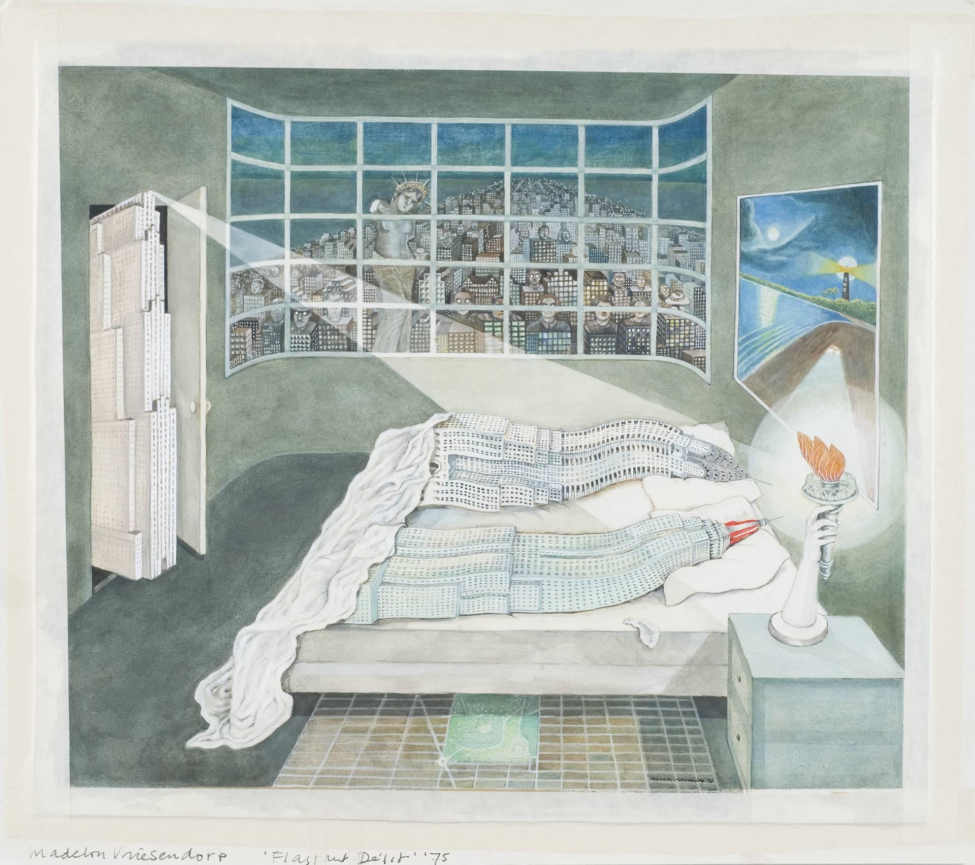 'Flagrant Delit. Delirious New York', acuarela de Madelon Vriesendorp (1975).