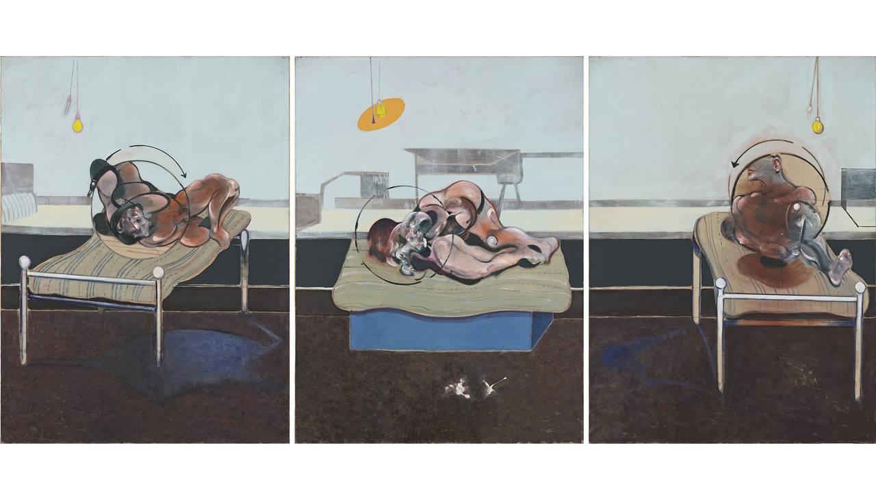"""""""Tres estudios de figuras sobre camas"""", de Bacon se encuentra en esta exposición."""