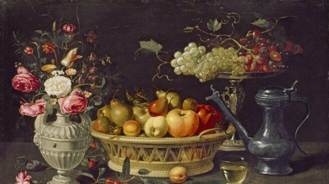 Bodegón con frutas y flores. Clara Peeters. Óleo sobre cobre, 64 x 89 cm. c. 1612-1613. Oxford, The Ashmolean Museum.