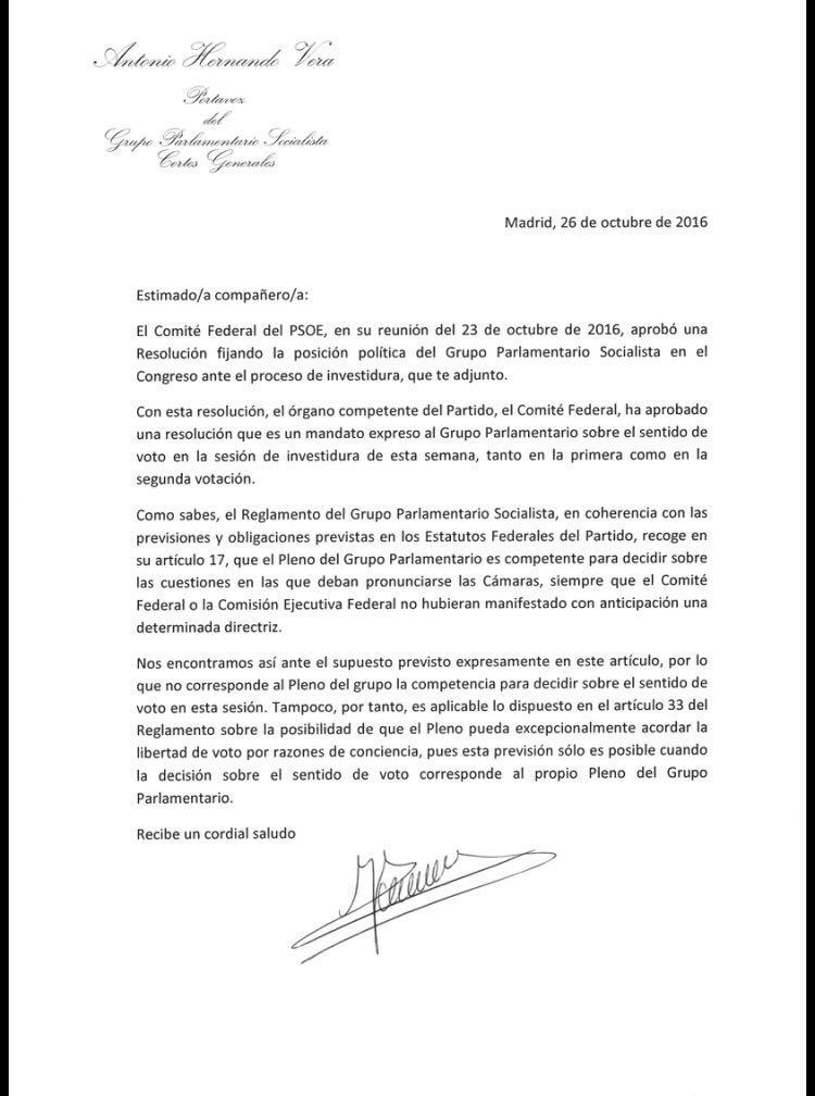 Carta de Antonio Hernando a los diputados socialistas.