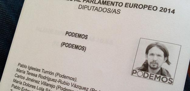 Papeleta de Podemos en las elecciones europeas de 2014.