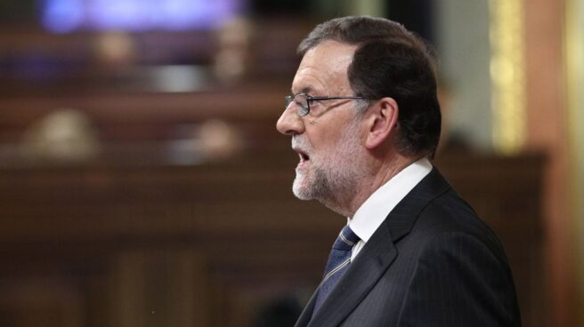 El presidente del Gobierno, Mariano Rajoy, durante el debate de investidura
