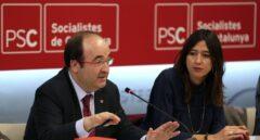 Miquel Iceta y Nuria Parlon, este lunes.