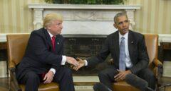 Obama y Trump tras su reunión en la Casa Blanca.