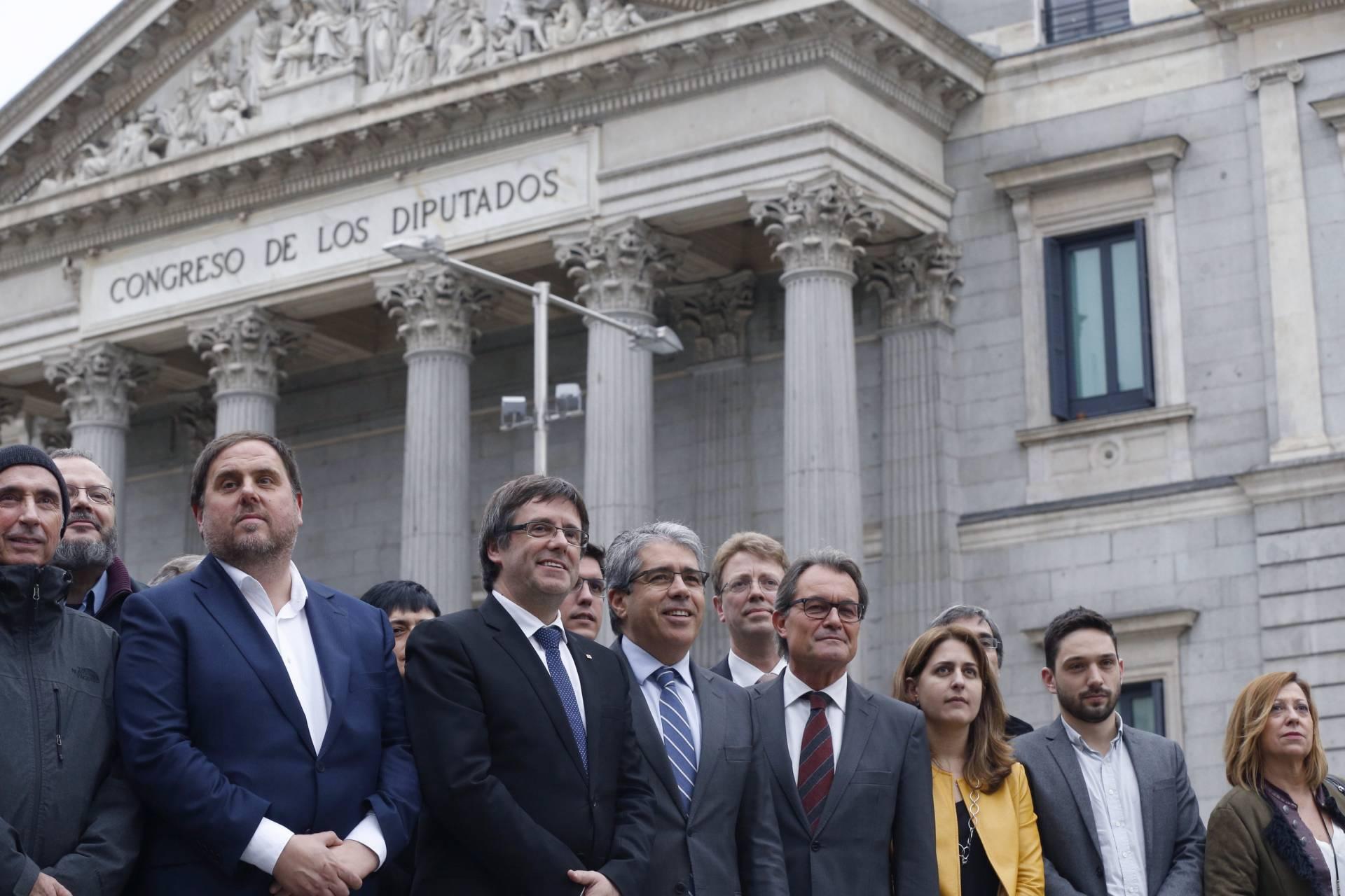 Oriol Junqueras, Carles Puigdemont, Francesc Homs y Artur Mas, este martes en Madrid.