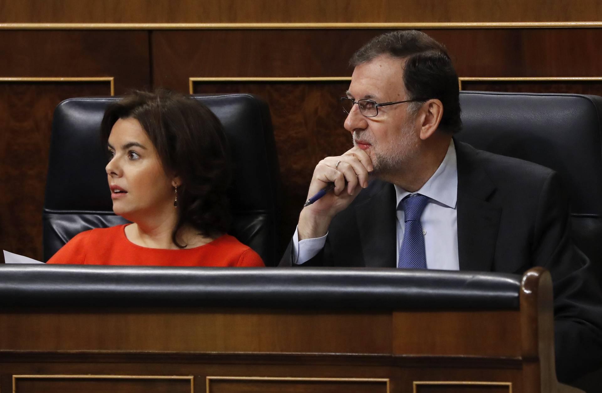 Soaraya Sáenz de Santamaría y Mariano Rajoy, en el Congreso.