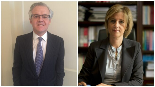 Sebastián Albella, socio de Linklaters, y Ana María Martínez-Pina, presidenta del ICAC.