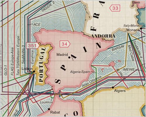 Detalle de uno de los mapas de los cables submarinos que tocan las costas españolas.