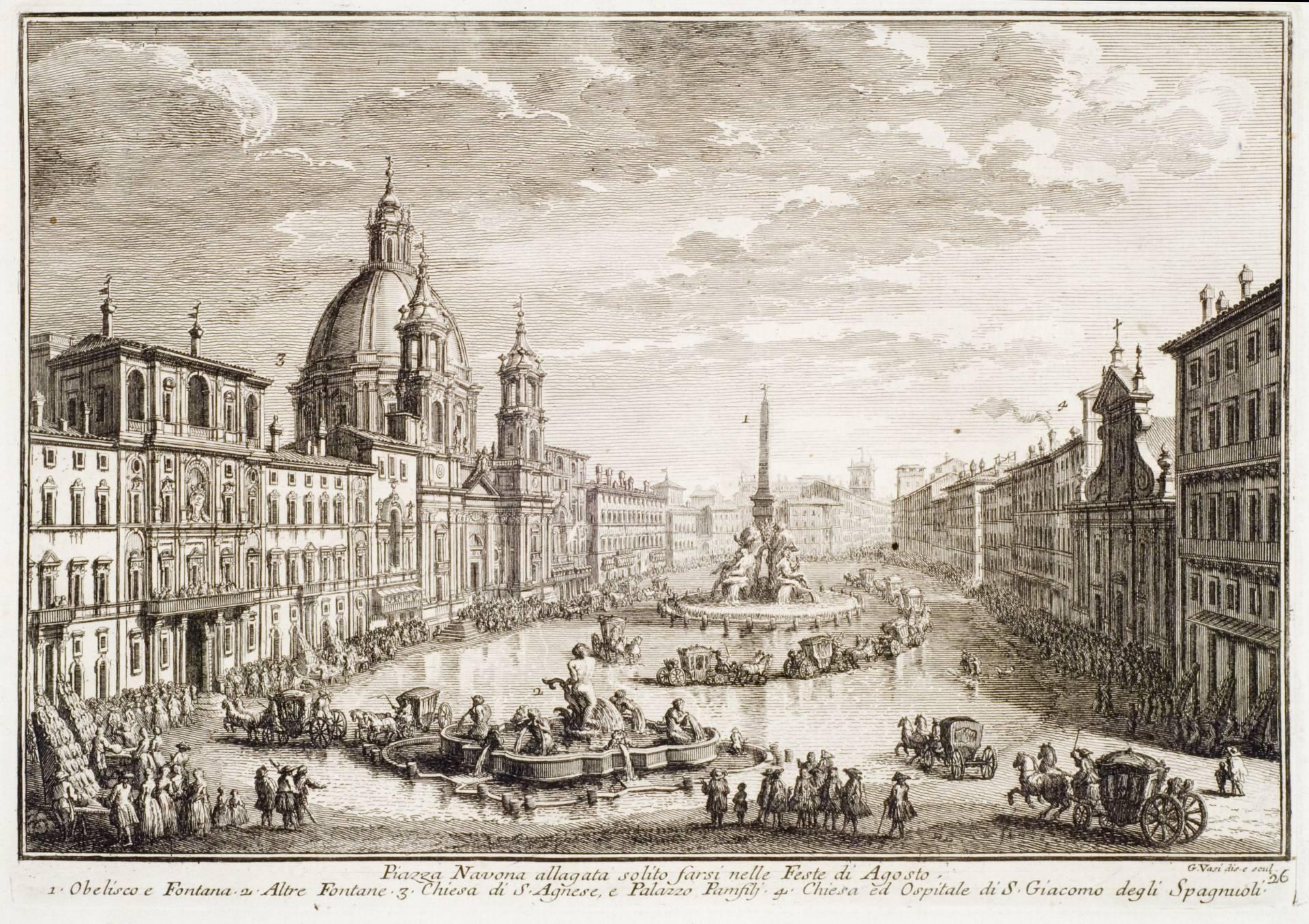 Aguafuerte de la Plaza Navona, de Giuseppe Vasi (1752).