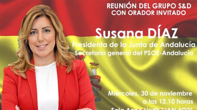Cartel anunciador de la reunión de grupo de los socialistas europeos.