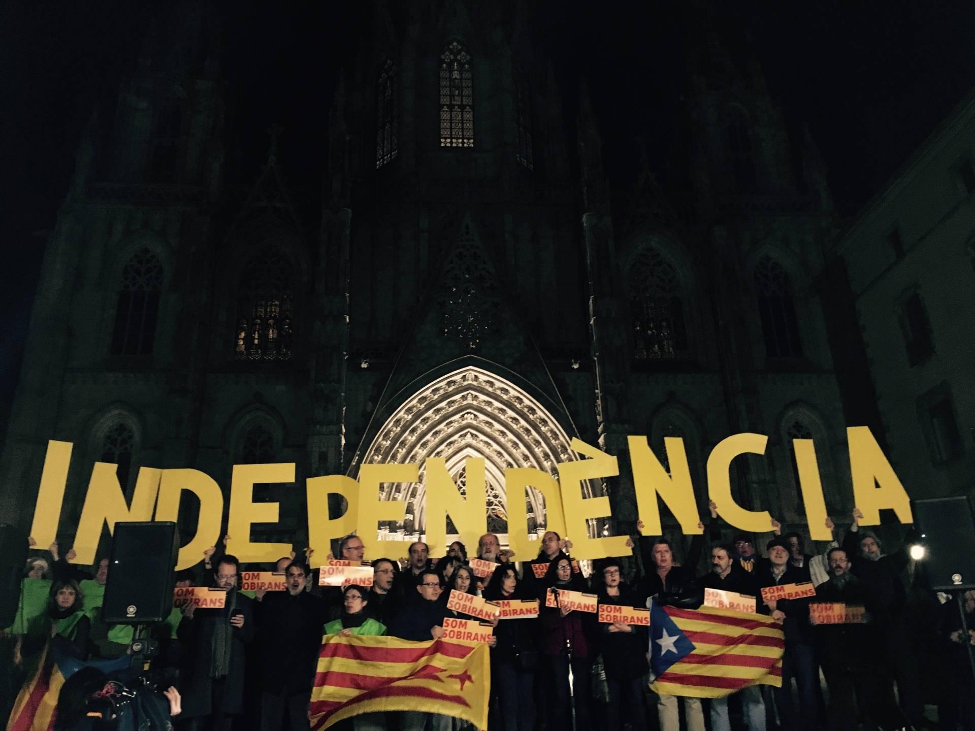Manifestación de apoyo a la independencia convocada por la Asamblea Nacional Catalana.
