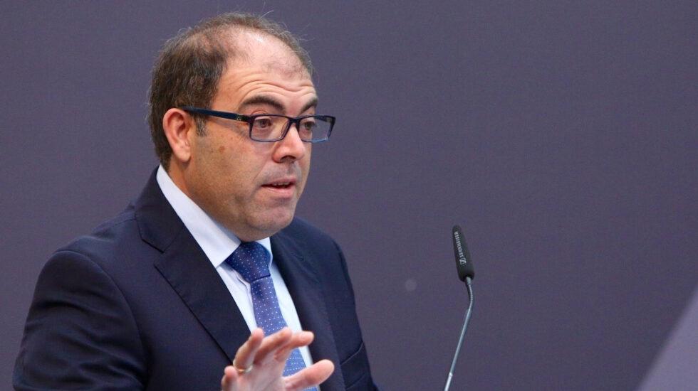 El presidente de ATA, Lorenzo Amor, en un encuentro empresarial en Tomares (Sevilla)