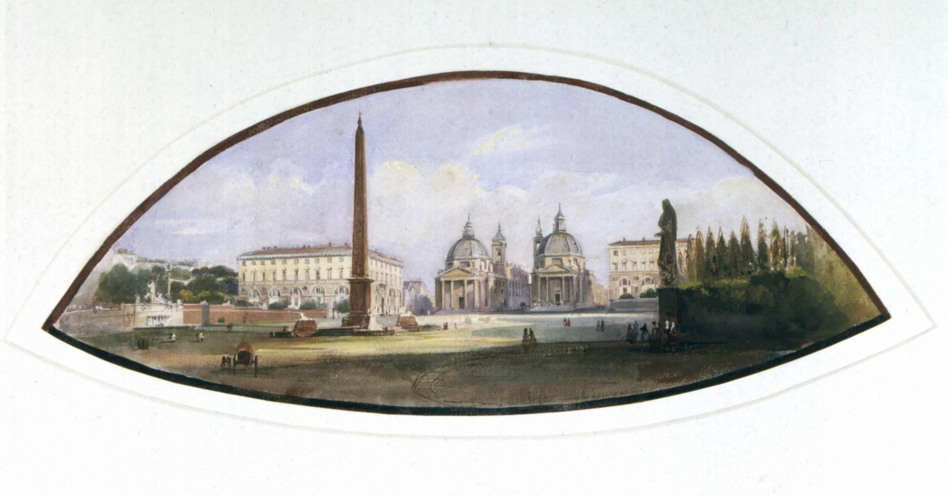 Acuarela de la Plaza Del Popolo, de Ippolito Caffi (1843-1857).