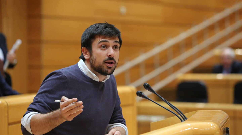 El secretario general de Podemos en Madrid, Ramón Espinar, durante una intervención en el Senado.