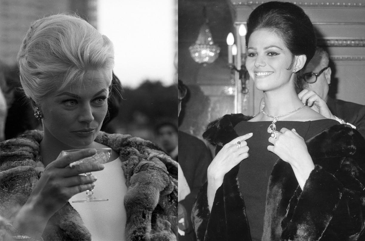 A la izquierda, Anita Ekberg en la presentación de la película Bocaccio 70 luciendo unos pendientes de platino, zafiros y diamantes (Roma, 1961). A la derecha, Claudia Cardinale probándose un collar de platino y diamantes durante la exposición de Bulgari en la Embajada italiana de París (1962).