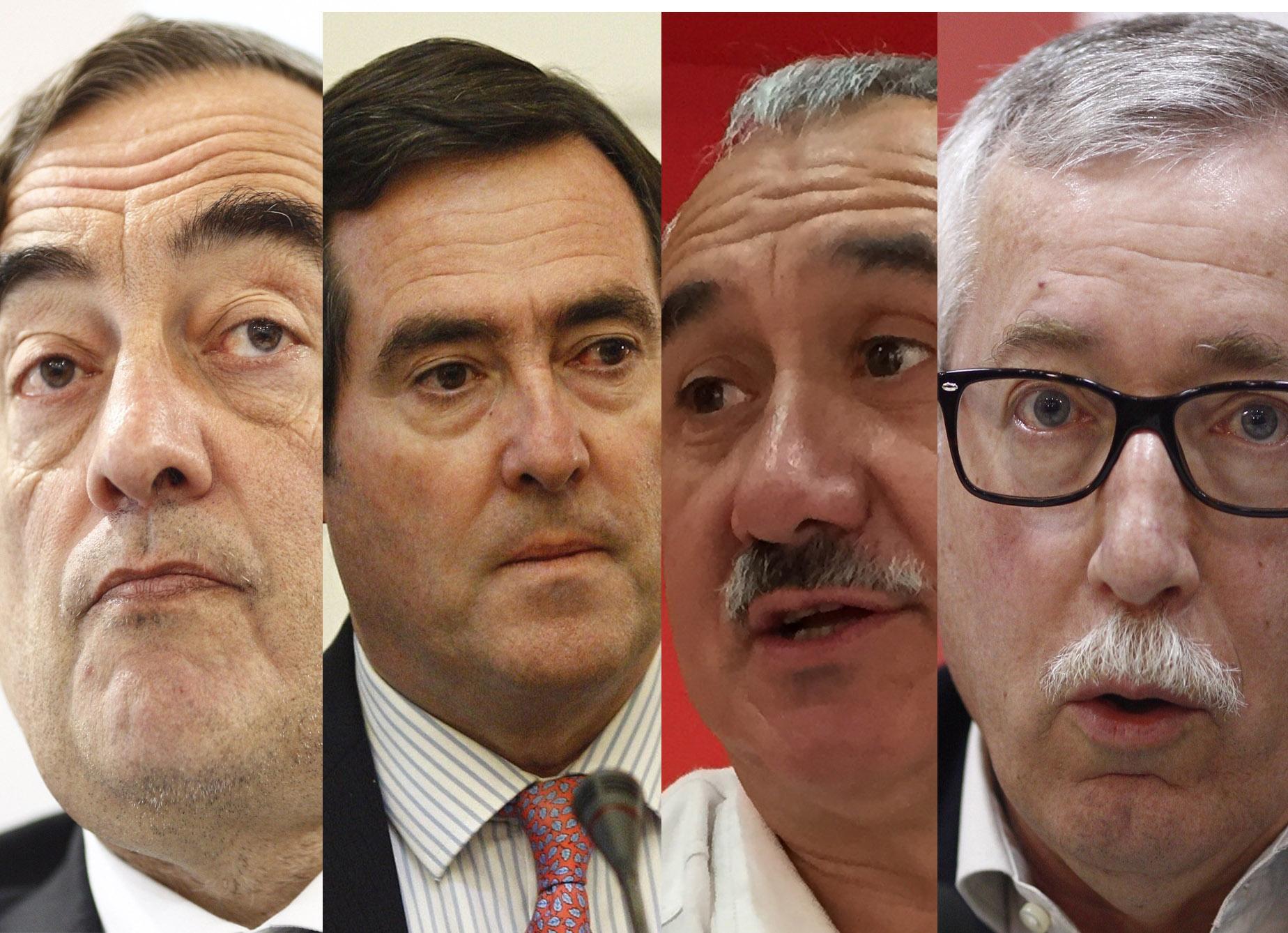 De izquierda a derecha los presidentes de CEOE y Cepyme, Juan Rosell y Antonio Garamendi, y los secretarios generales de UGT y CC.OO., Pepe Álvarez e Ignacio Fernández Toxo