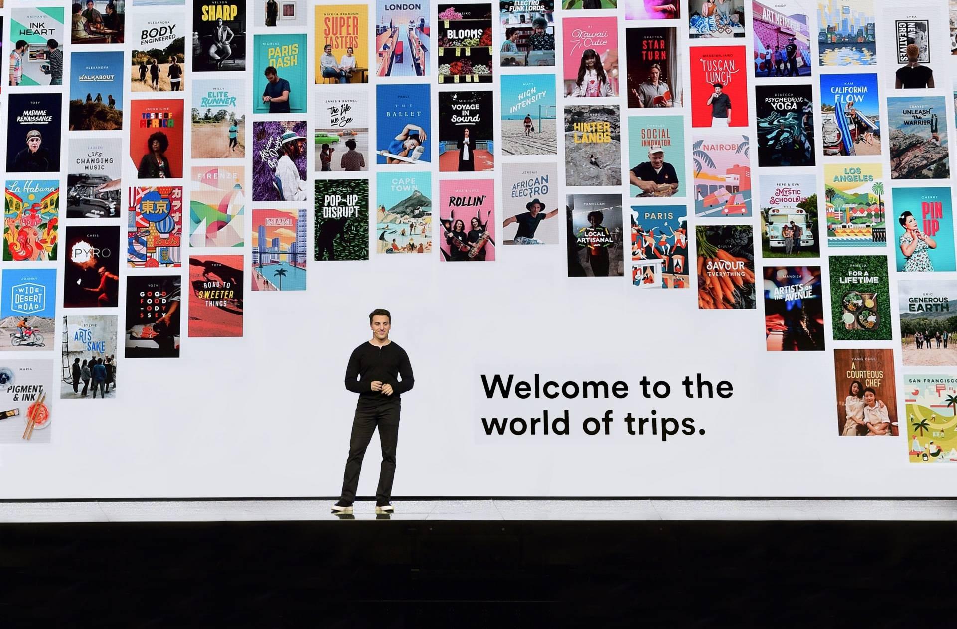 El CEO de Airbnb, Brian Chesky, durante la presentación de Trips.