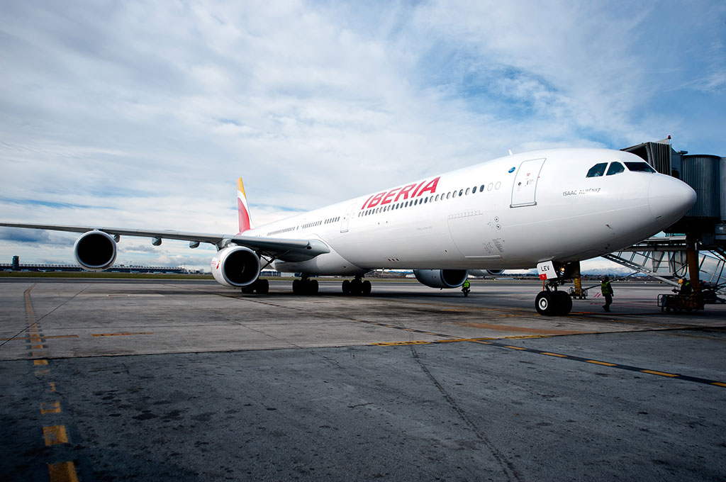 Uno de los aviones de la flota de Iberia.