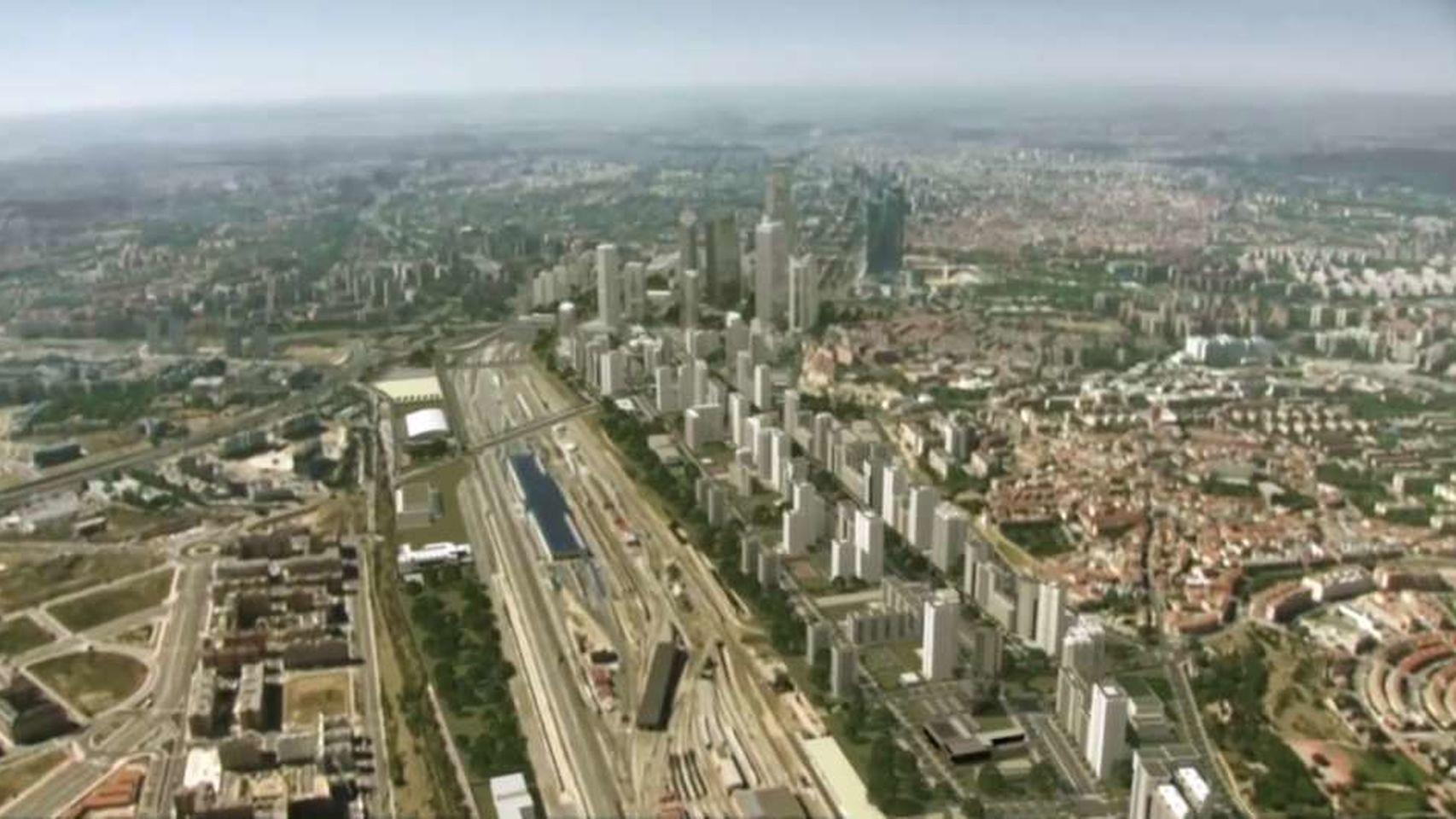 Recreación aérea de la Operación Chamartín, tal y como la conciben Fomento, Comunidad de Madrid y DCN.