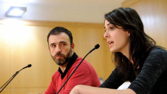 Rita Maestre en rueda de prensa junto al concejal de Ahora Madrid Nacho Murgui.