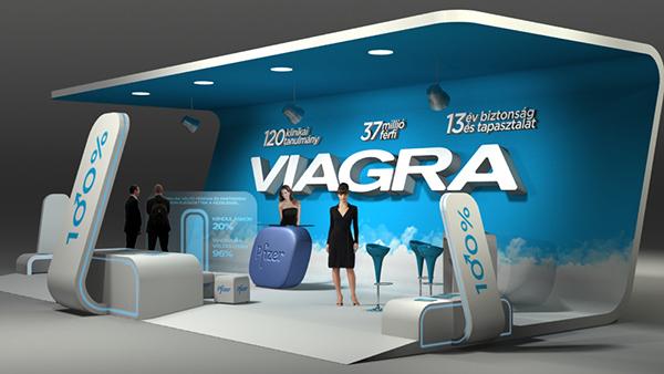 Stand publicitario de Viagra.