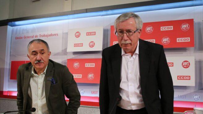 Los secretarios generales de CC.OO. y UGT, Ignacio Fernández Toxo y Pepe Álvarez.
