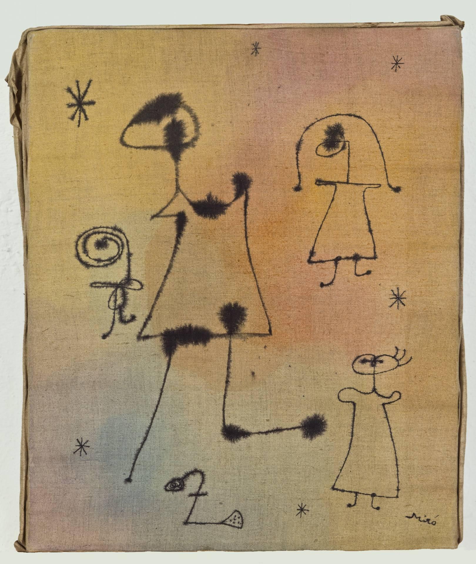 'Mujeres, niña saltando a la comba, pájaro, estrellas' (1944), de Joan Miró. Acuarela y tinta china sobre lienzo.