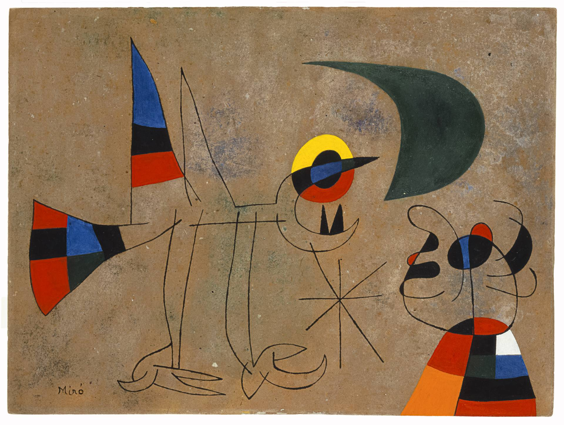 'Pájaro, pareja de personajes, estrella' (1942), de Joan Miró. Lápiz, acuarela y resina sobre papel.