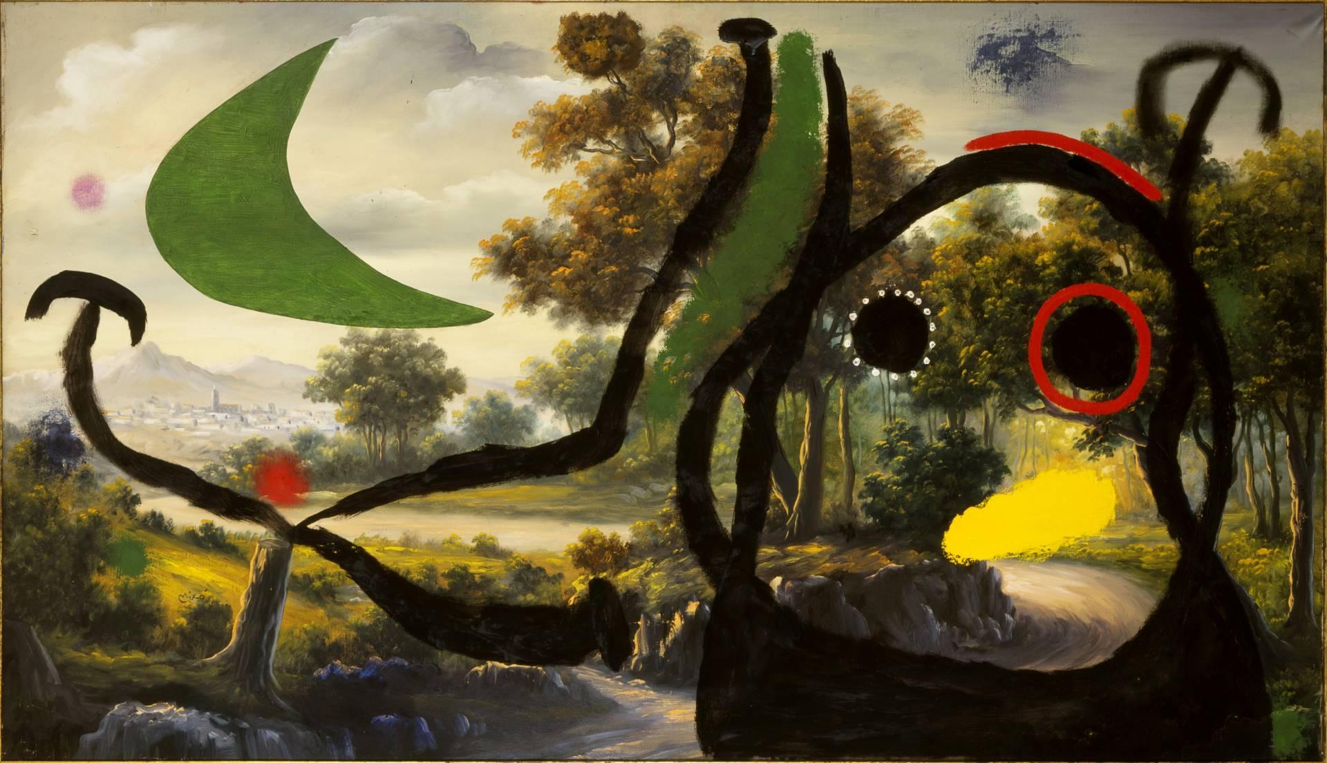 'Personaje en un paisaje cerca del pueblo' (1965), de Joan Miró. Óleo sobre cuadro.