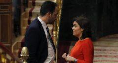 Antonio Hernando y Soraya Sáenz de Santamaría, este miércoles en el Congreso.