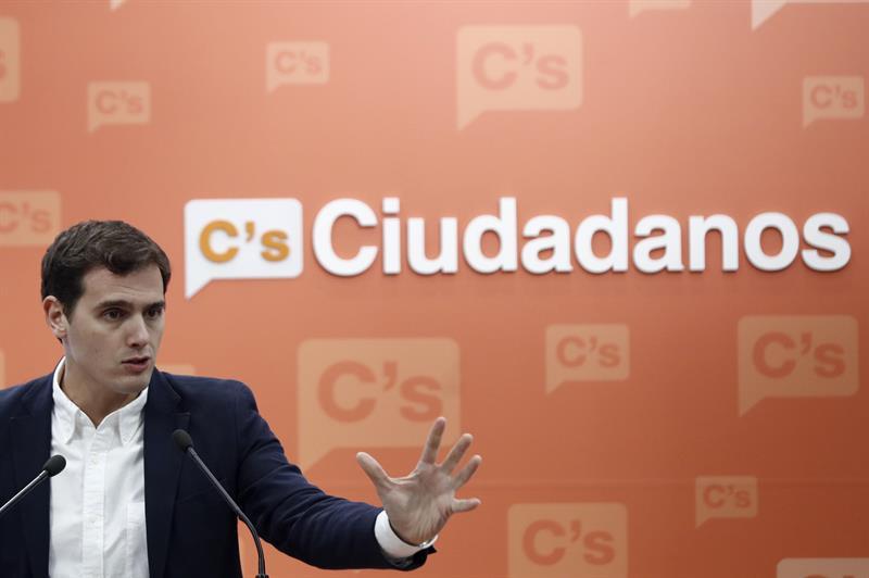 Albert Rivera, en una rueda de prensa en la sede de Ciudadanos.