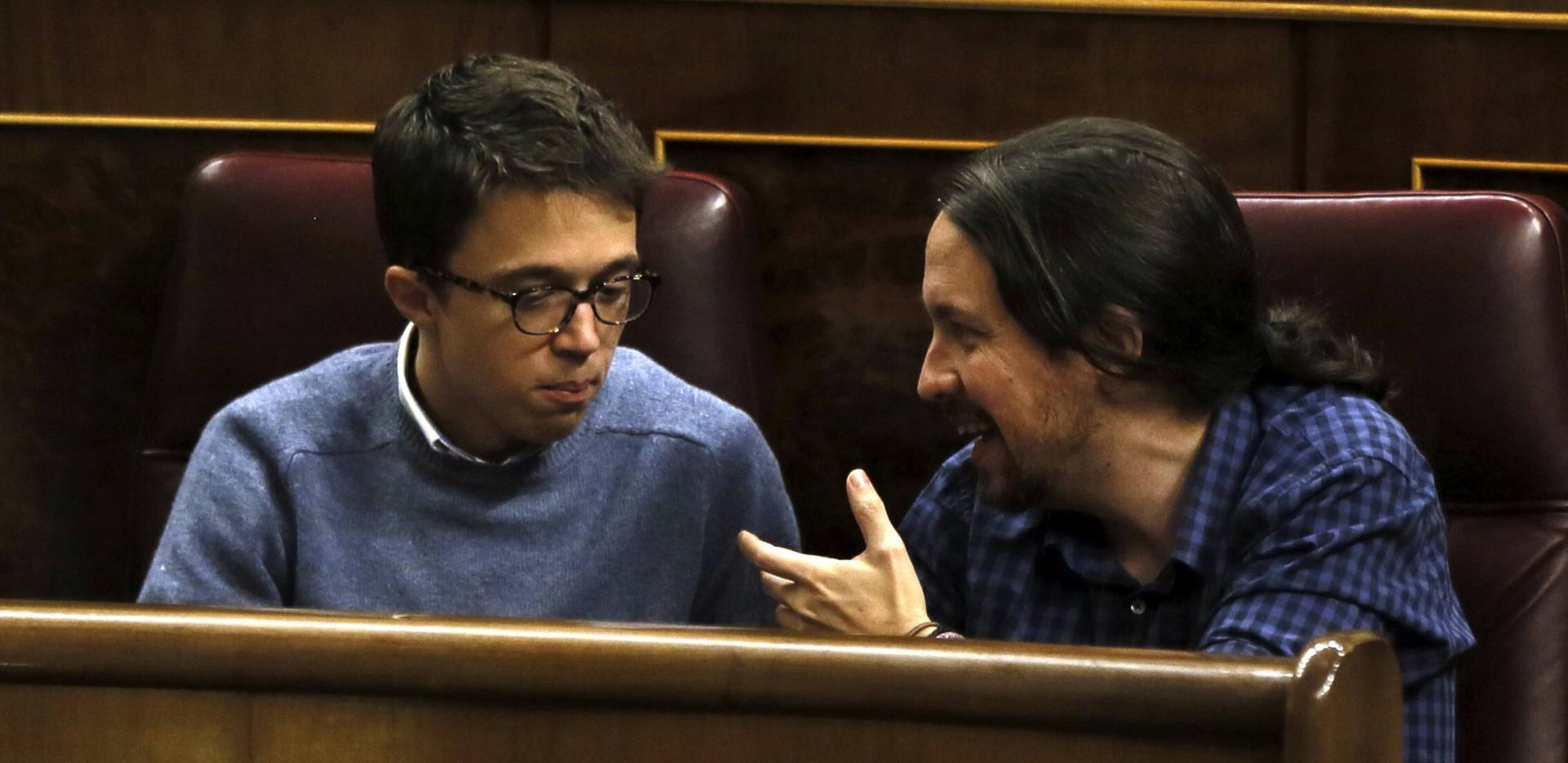 El secretario general de Podemos, Pablo Iglesias, junto a su 'número dos', Íñigo Errejón.