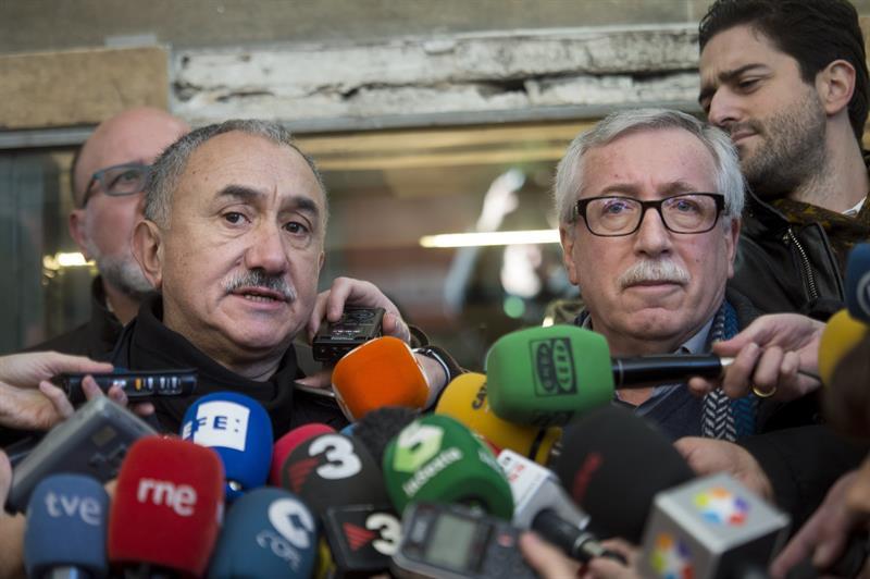 Pepe Álvarez e Ignacio Fernández Toxo, antes de la manifestación.